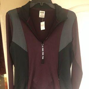 VS PINK maroon black half zip top/shirt new sz L